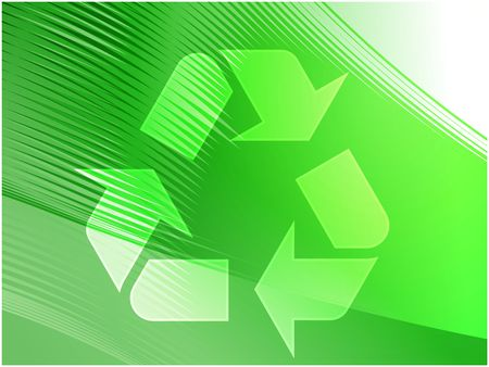 Recycling eco symbol illustration of three pointing arrows on abstract design illustration