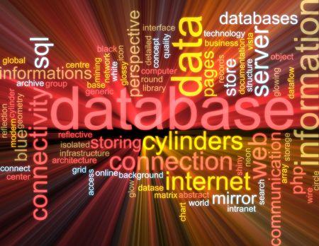 dataflow: Ilustraci�n de concepto de nube de Word de efectos de luz resplandeciente de base de datos de almacenamiento de informaci�n