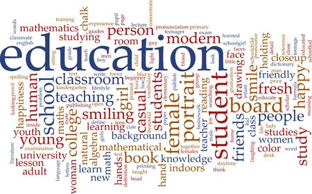word cloud: Word cloud concept illustration of education studies