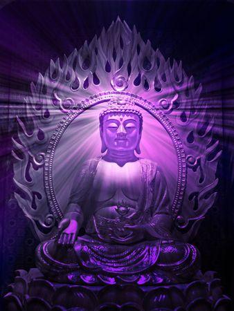 Buddha religious illustration with glowing light halo Stock Illustration - 5476781