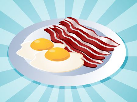 bacon and eggs: Bacon and eggs breakfast on plate  illustration