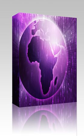 cartographical: Software package box Map of the Africa, on a spherical globe, cartographical illustration