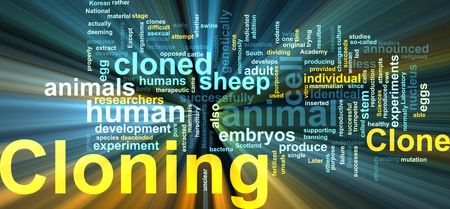 clone: Word cloud concept illustration of cloning clone glowing light effect  Stock Photo