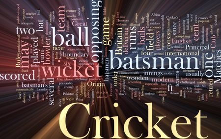 opposing: Word cloud concept illustration of Cricket sport glowing light effect