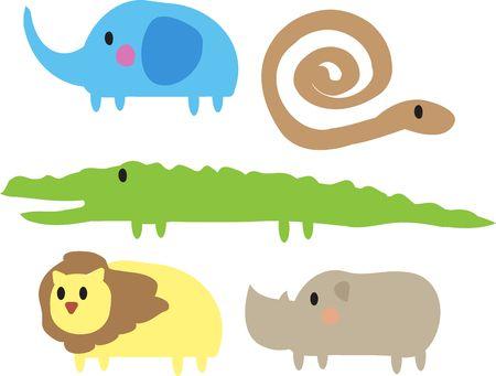 python: Cute cartoon jungle animals illustration of elephant, snake, crocodile, lion, rhino