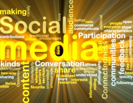 everyone: Word cloud tags concept illustration of social media glowing light effect  Stock Photo