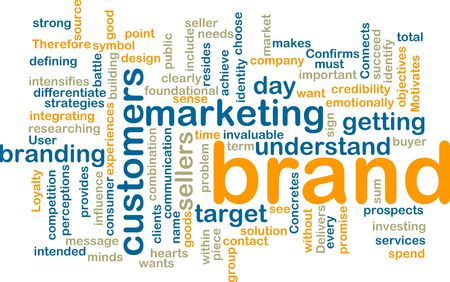 Word cloud tags concept illustration of brand marketing Stock Illustration - 5501776