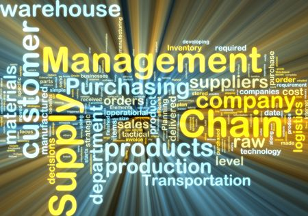 scm: Word cloud tags concept illustration of supply chain management glowing light effect  Stock Photo