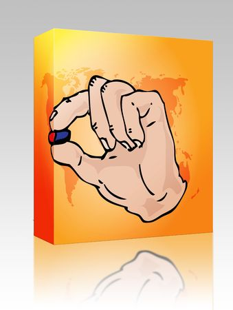 pill popping: Software package box Hand holding medicine, illustration in hand-drawn format