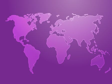 Map of the world illustration, simple outline on gradient color illustration