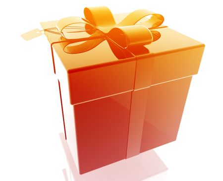 suprise: Wrapped fancy present illustration glossy metal style isolated Stock Photo