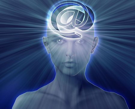 envisioning: Woman thinking about at internet symbol, floating on her head