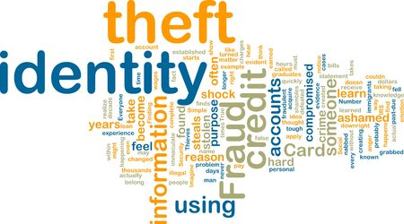 Word cloud tags concept illustration of identity theft illustration