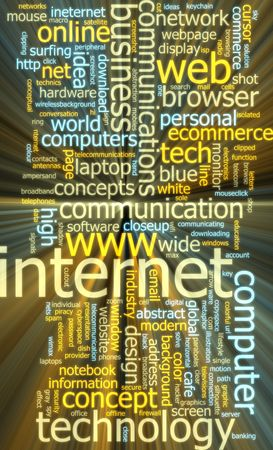 Word cloud concept illustration of internet web glowing light effect  illustration