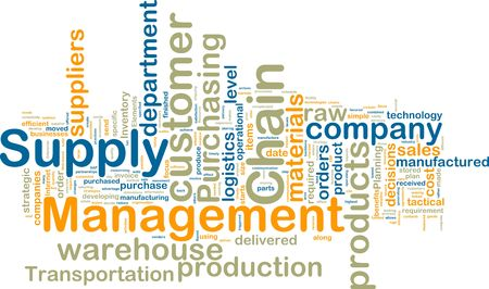 inventory: Word cloud tags concept illustration of supply chain management Stock Photo