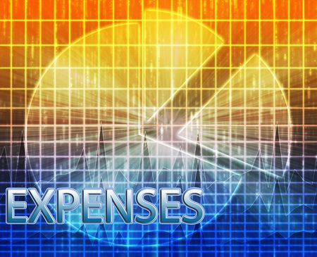 expenses: Illustration of expenses  budgeting finance and business pie chart