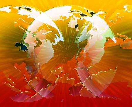 americas: Glowing translucent world map globes, Americas, Asia, Europe, Africa Stock Photo