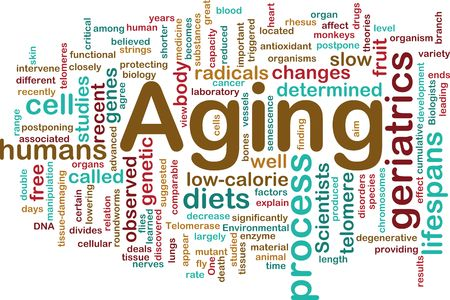 free radicals: Word cloud concept illustration of age aging