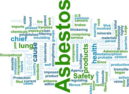 environmental safety: Word cloud concept illustration of  asbestos hazard