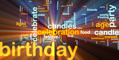 Word cloud concept illustration of birthday celebration glowing light effect  illustration