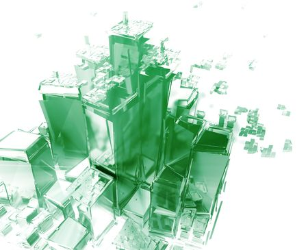 Abstract generic city with exploding breaking apart illustration illustration