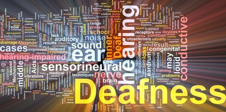 Word cloud concept illustration of hearing deafness glowing light effect  illustration