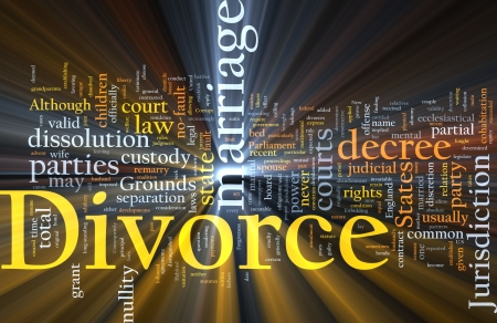 divorce court: Word cloud concept illustration of divorce marriage glowing light effect  Stock Photo
