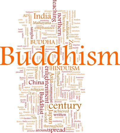 Word cloud concept illustration of  Buddhism religion Stock Illustration - 5640257