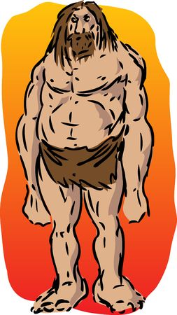 cro magnon: Caveman illustration, sketch of brutish muscular primitive man