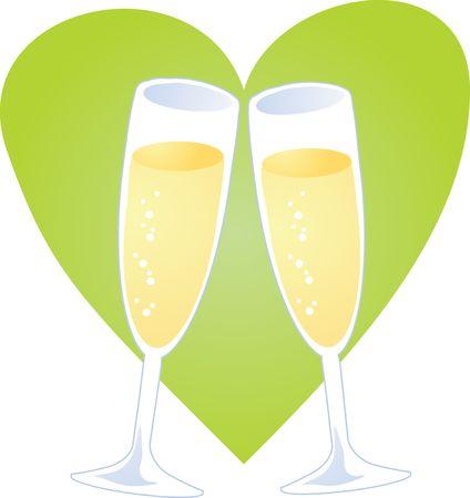 Champagne toast over heart, romantic celebration illustration illustration