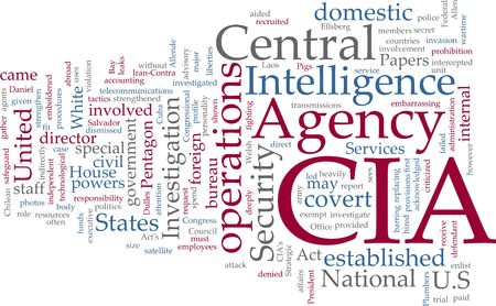 cia: Word cloud concept illustration of  CIA Central Intelligence Agency Stock Photo
