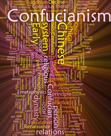Word cloud concept illustration of  Confucian Confucianism glowing light effect  illustration