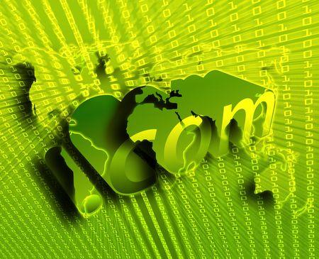 dotCom background, on world map internet illustration illustration