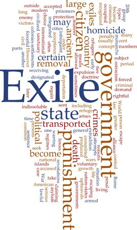 Word cloud concept illustration of exile punishment Stock Illustration - 5641441