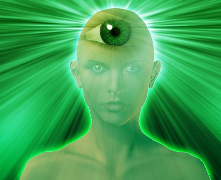 Woman with third eye, psychic supernatural senses Stock Photo - 5641544