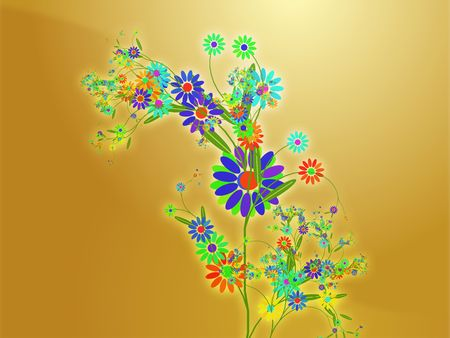themed: Floral nature themed design illustration with leaves and blossoms