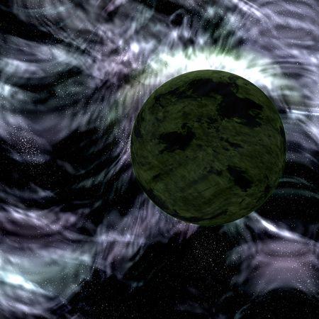 Science fiction planet complex space scene illustration