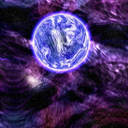 scienceficton: Science fiction planet complex space scene illustration