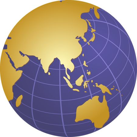 asia pacific: Globe map illustration of the Asia Pacific Stock Photo
