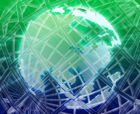 globe grid: Abstract globe grid wireframe Asia world map illustration Stock Photo