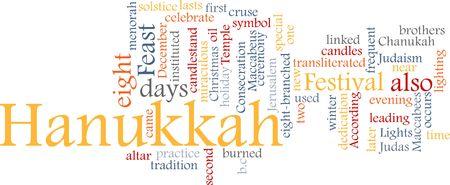 winter solstice: Word cloud concept illustration of Hanukkah Jewish celebration
