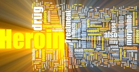 overdose: Word cloud concept illustration of heroin drug glowing light effect  Stock Photo