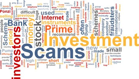manipulate: Word cloud concept illustration of  Investment scams