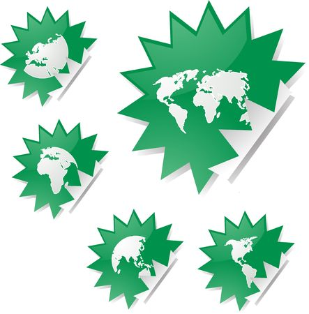 spiky: World map icons on spiky sticker shapes