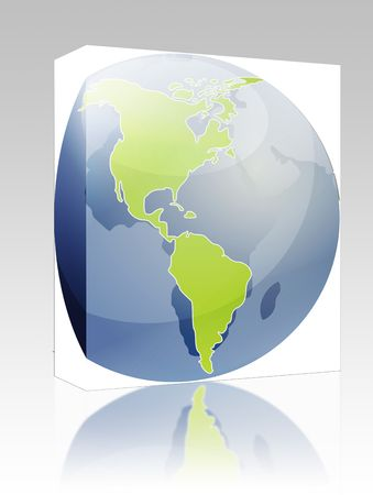 cartographical: Software package box Map of the Americas, on a sperhical globe, cartographical illustration Stock Photo