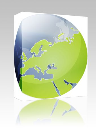 cartographical: Software package box Map of the Europe, on a spherical globe, cartographical illustration Stock Photo