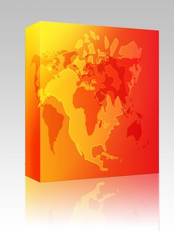 Software package box Map of the North American continent, USA Canada Mexico Stock Photo - 5641906