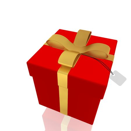 suprise: Wrapped fancy present illustration  isolated, red and gold Stock Photo