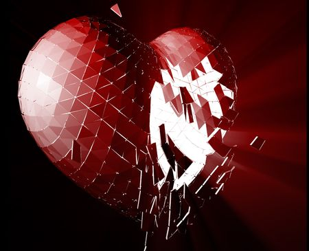 lost love: Broken shattered heart lost love glowing abstract illustration  Stock Photo