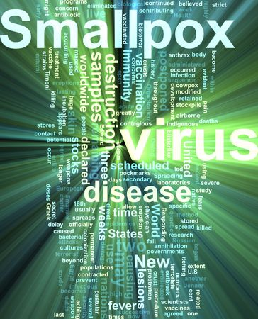smallpox: Word cloud concept illustration of  smallpox virus glowing light effect  Stock Photo